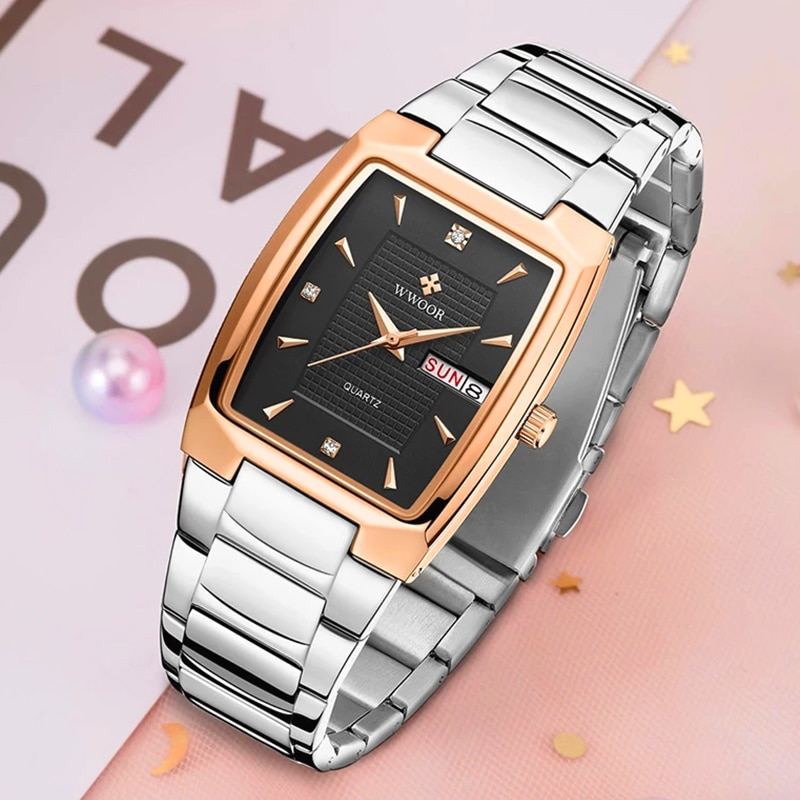 Relógios de Quartzo Relógio à Prova Wwoor Marca Casual Relógios Femininos Moda Praça Senhoras Pulseira Simples Vestido Tira Dmonágua Montre Femme