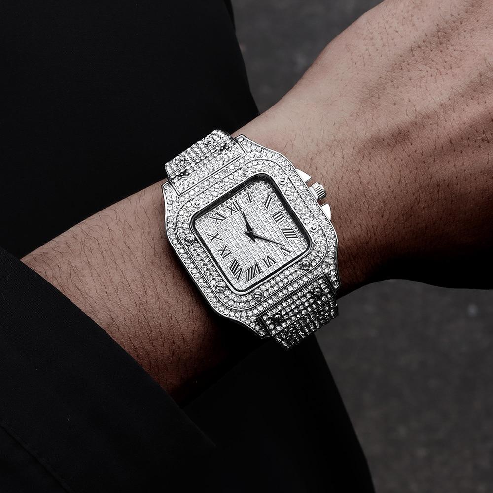 Hip Hop Iced Out Men Watch Square Diamond Quartz Luxury Mens Wrist Watches Gold Roman Calendar Steel Clock Relogio Masculino