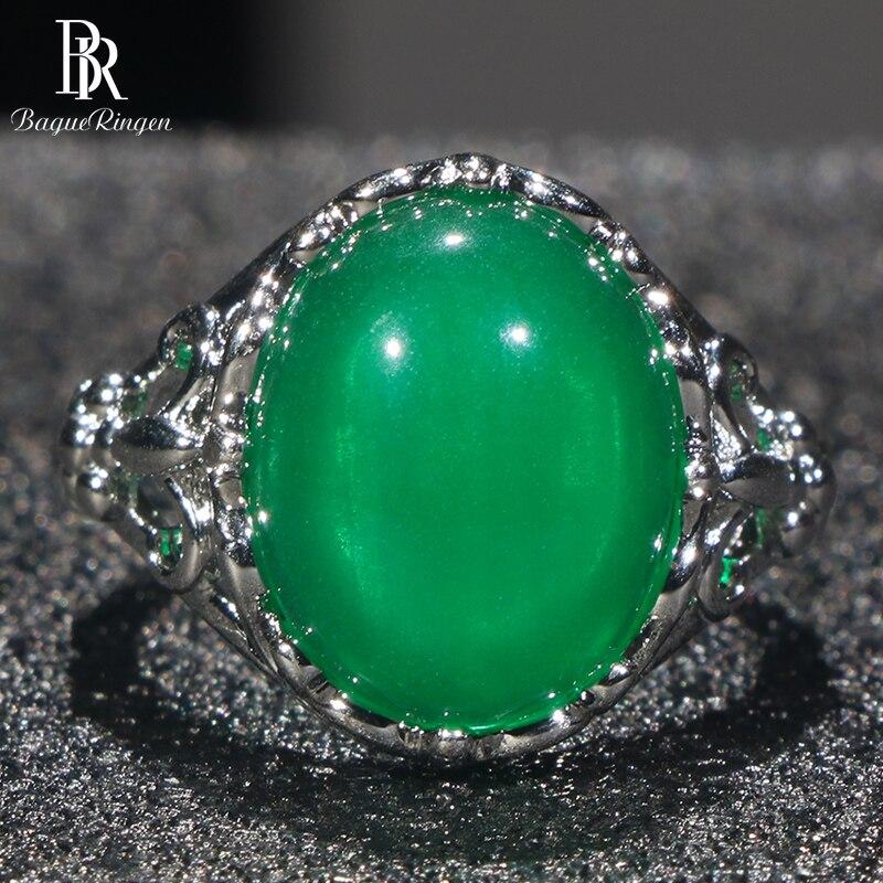 Anillo de plata Bague Ringen 925 para mujer con piedras preciosas verdes de 15x12mm, tamaño ajustable, para fiestas de bodas, venta al por mayor, joyería de regalo