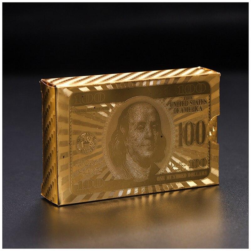 24K золотые карты для покера Роскошные Золотые Фольга покер игральные карты доллар евро набор пластиковые волшебные карты водостойкие карты...