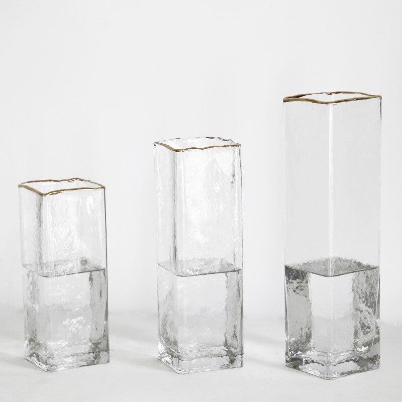 Vaso de vidro luxuoso europeu, garrafa aureate, vaso contratado para mesa, decoração de casa, vaso quadrado