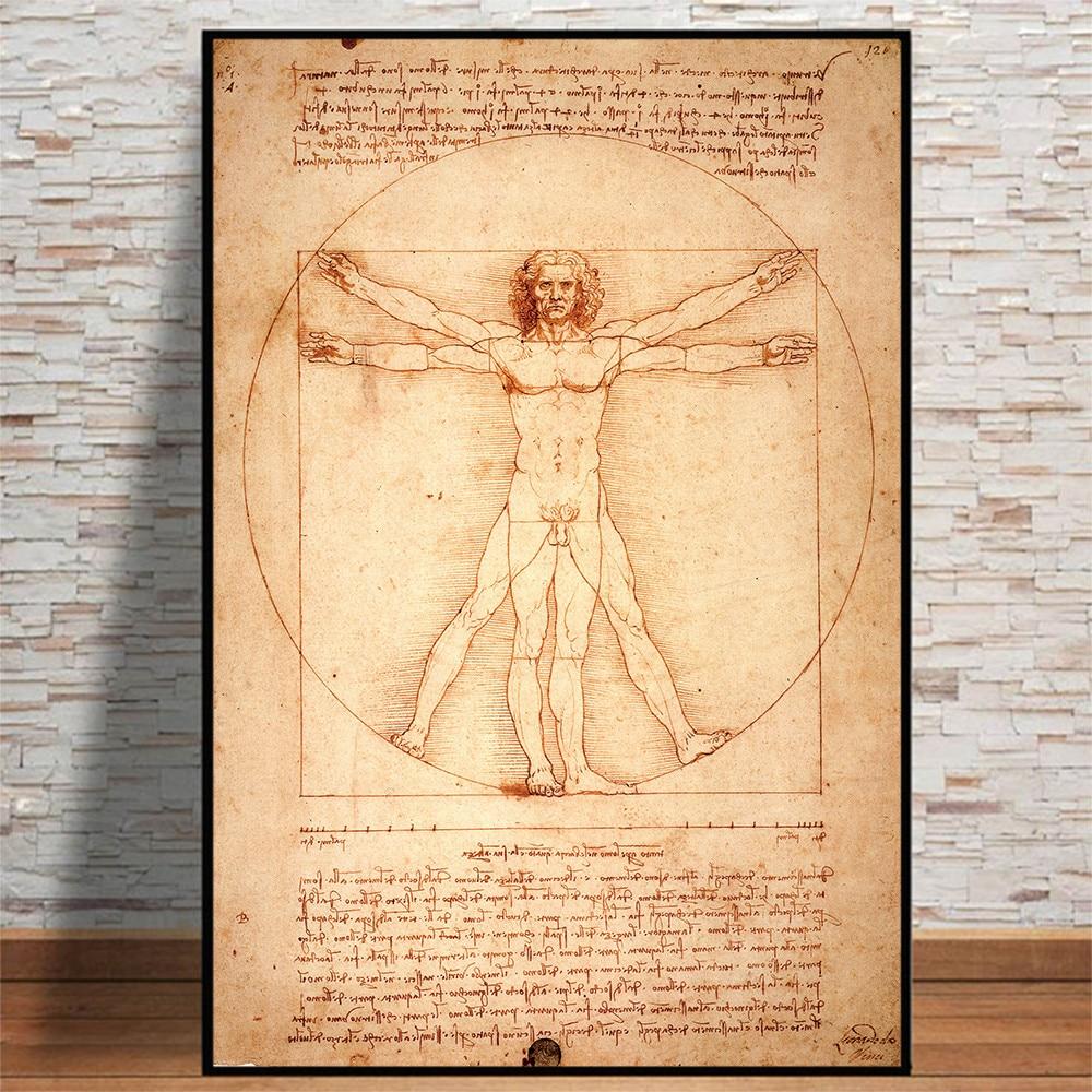 Leonardo da vinci manuscrito vitruvian homem pintura a óleo sobre tela cartazes e impressões cuadros arte da parede imagens para sala de estar