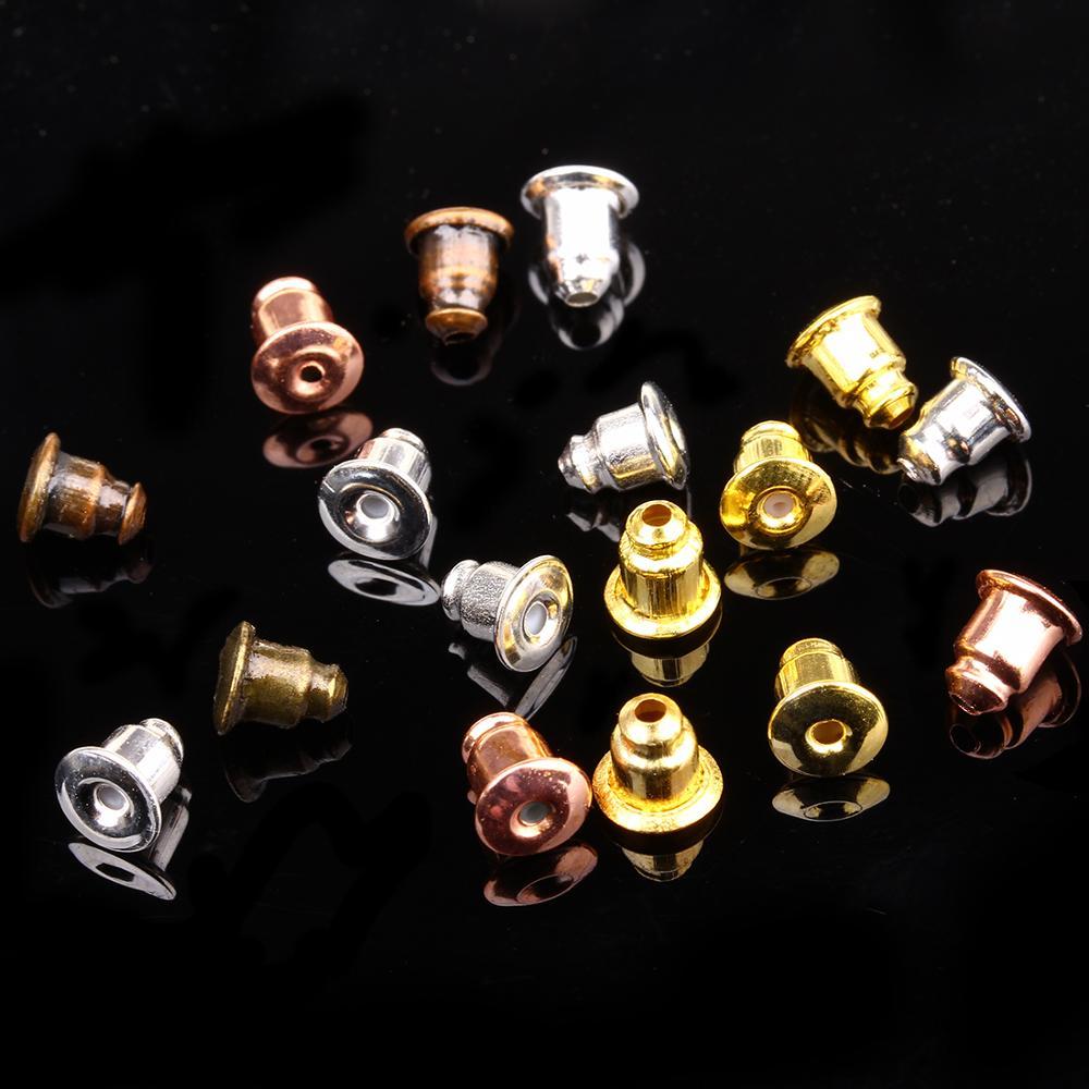 AliExpress - Alloy Rubber Earring Back Stopper Earnuts Round Ear Plug Blocked Caps Bullet Silicone Earring Back Stopper for Jewelry Findings
