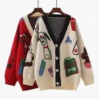 autumn new 2colour womens cardigan sweaters fashioon cartoon jacquard v neck loose knitwear %d0%b4%d0%b6%d0%b8%d0%bd%d1%81%d0%be%d0%b2%d0%b0%d1%8f %d0%ba%d1%83%d1%80%d1%82%d0%ba%d0%b0 %d0%b6%d0%b5%d0%bd%d1%81%d0%ba%d0%b0%d1%8f