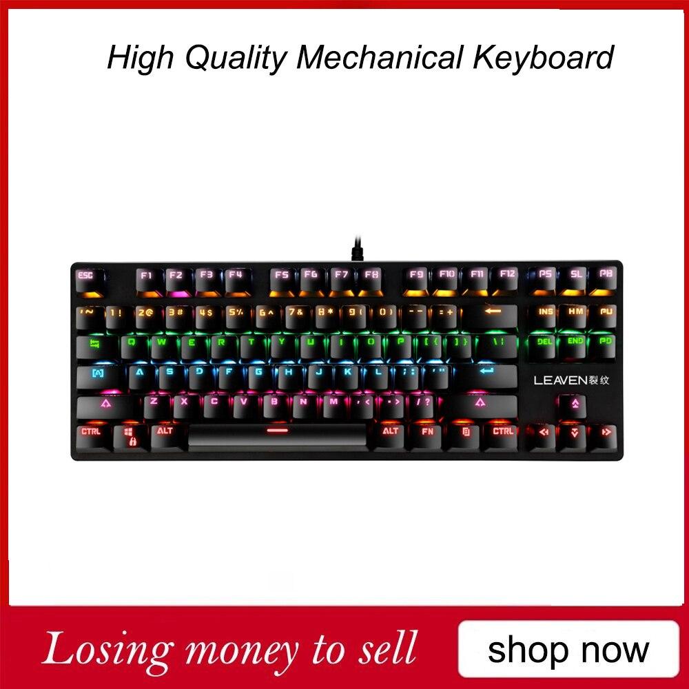 K550 لوحة المفاتيح الميكانيكية 87 مفاتيح الكمبيوتر الألعاب تنافسية المهنية لوحة المفاتيح USB السلكية RGB الخلفية الأزرق التبديل لوحة المفاتيح ل CS