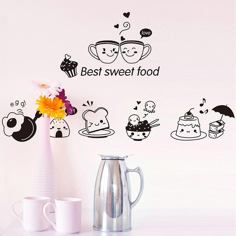 1 Uds., papel tapiz decorativo para comedor, decoración extraíble para cocina, dibujo animado, bonito estampado decorativo para Cocina