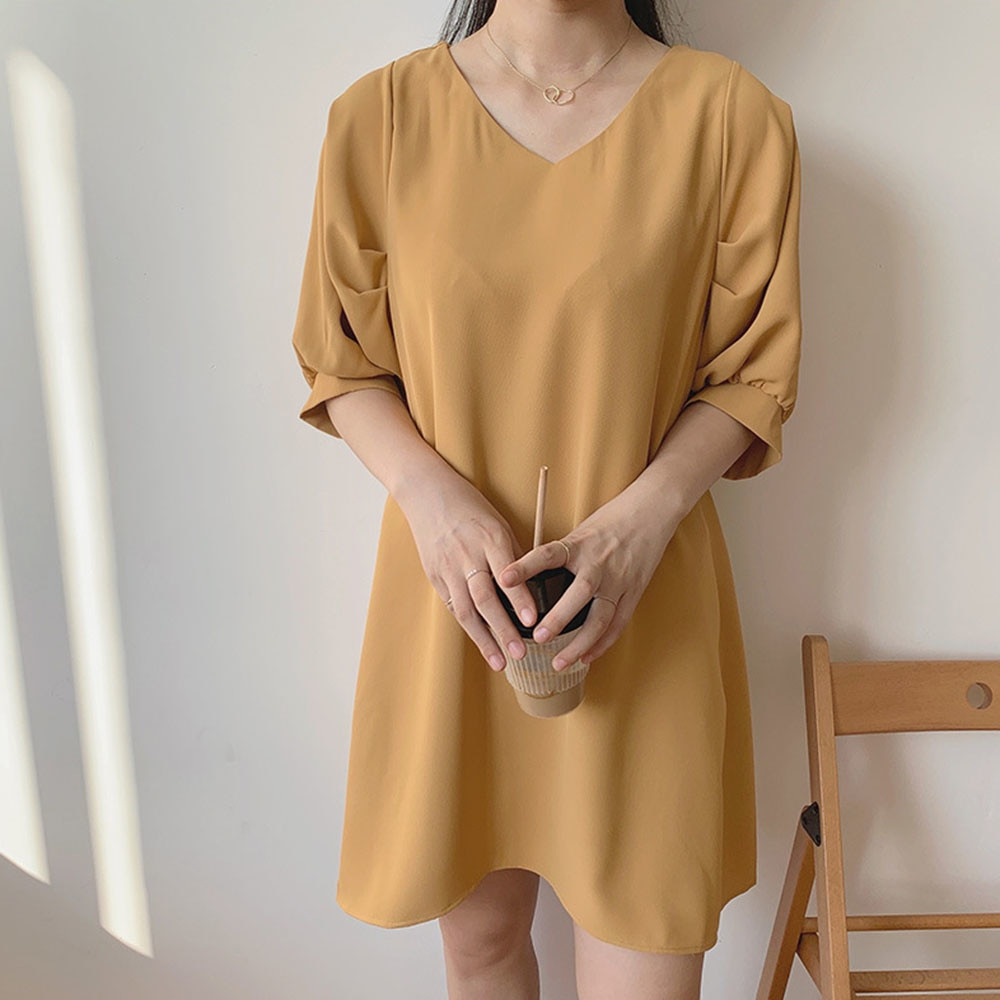Summer 2021 Japanese Style Korean Fashion Temperament New Solid Color Simplicity Loose Casual V-neck