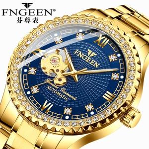 Gold Mechanical Watches FNGEEN 2020 Luxury Classic Business Man Watch Stainless Steel Waterproof Skeleton Tourbillon Men's Watch