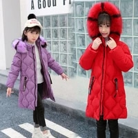 winter overalls for girl fur hooded childrens long parkas zipper jacket coat toddler girls outdoor thick warm windproof clothes