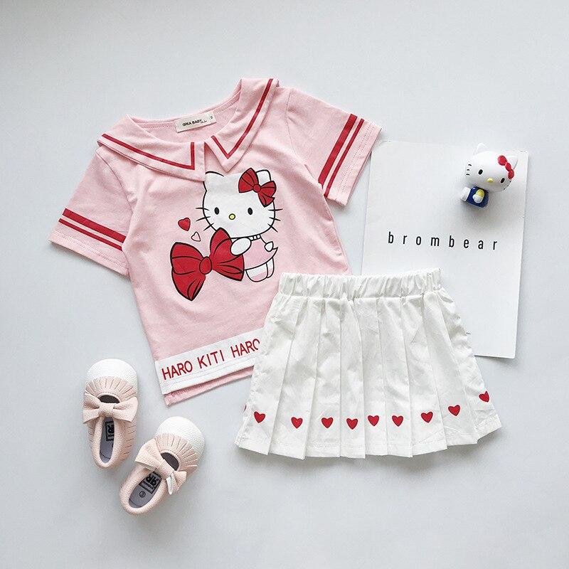 Hello Kitty dziewczynek ubrania zestawy T-shirt + spódnica 2 sztuk mundurek marynarski strój urodziny księżniczka Cartoon dzieci odzież dla dzieci zestaw