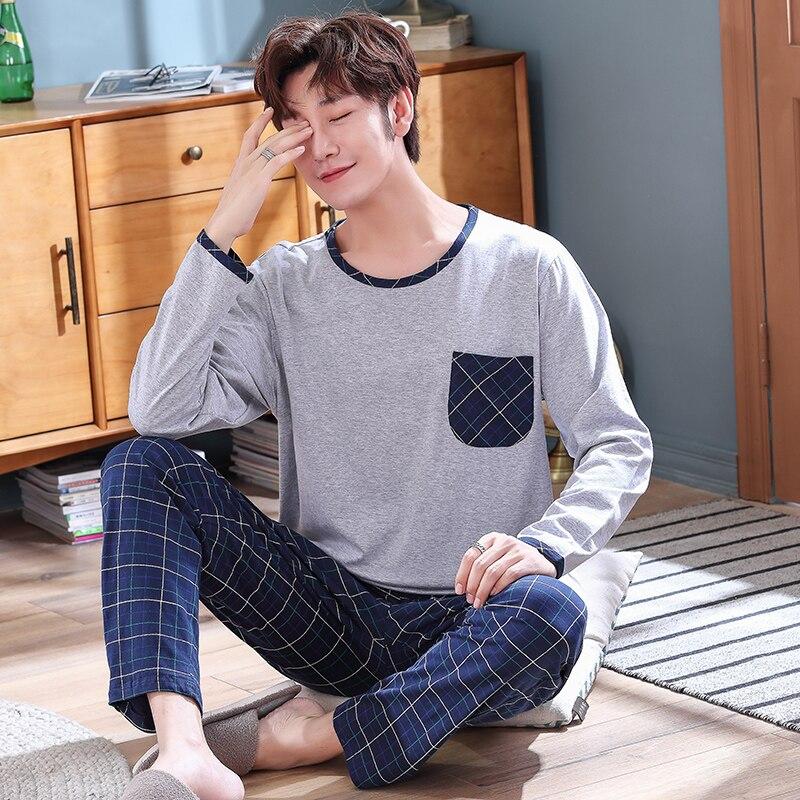 Новинка +2021 г. весна мужчины пижамы длинный рукав мужские пижамы комплект мужские чистые полные хлопок пижамы для мужчин одежда для сна костюм домашняя одежда 4XL