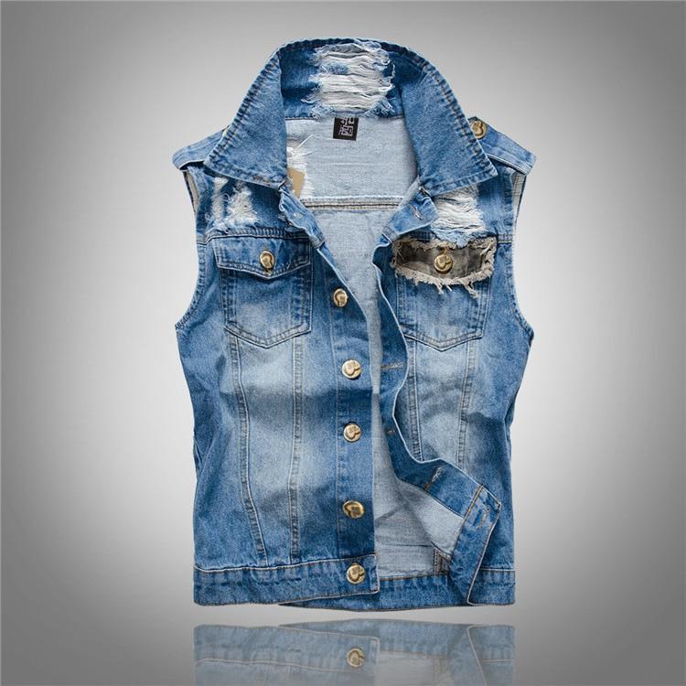 2021 Ripped Casual Jacket Men's Denim Vest Hip Hop xCoats Waistcoat Men Cowboy Brand Sleeveless Jacket Male Tank Plus Size 5XL  - buy with discount
