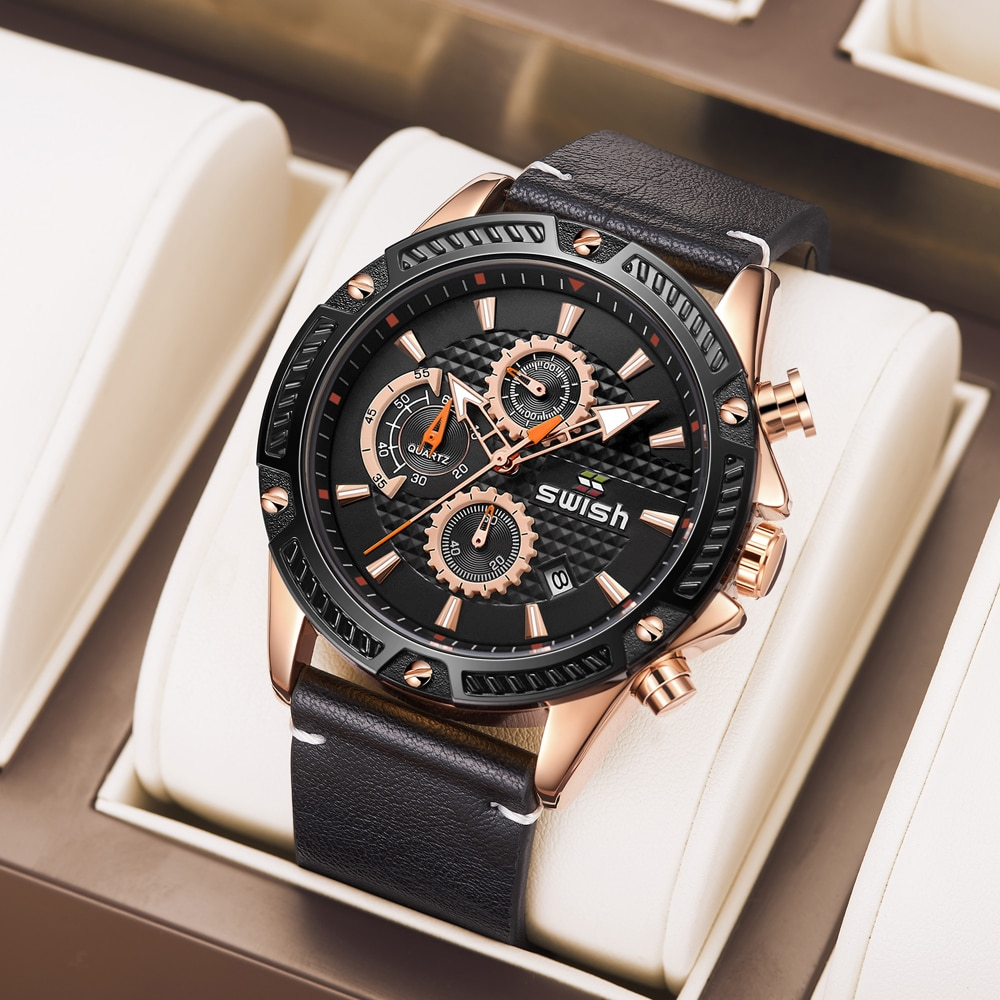 SWISH 2021 Fashion Men Military Watches Luxury Brand New Leather Chronograph Male Stainless Steel Sp