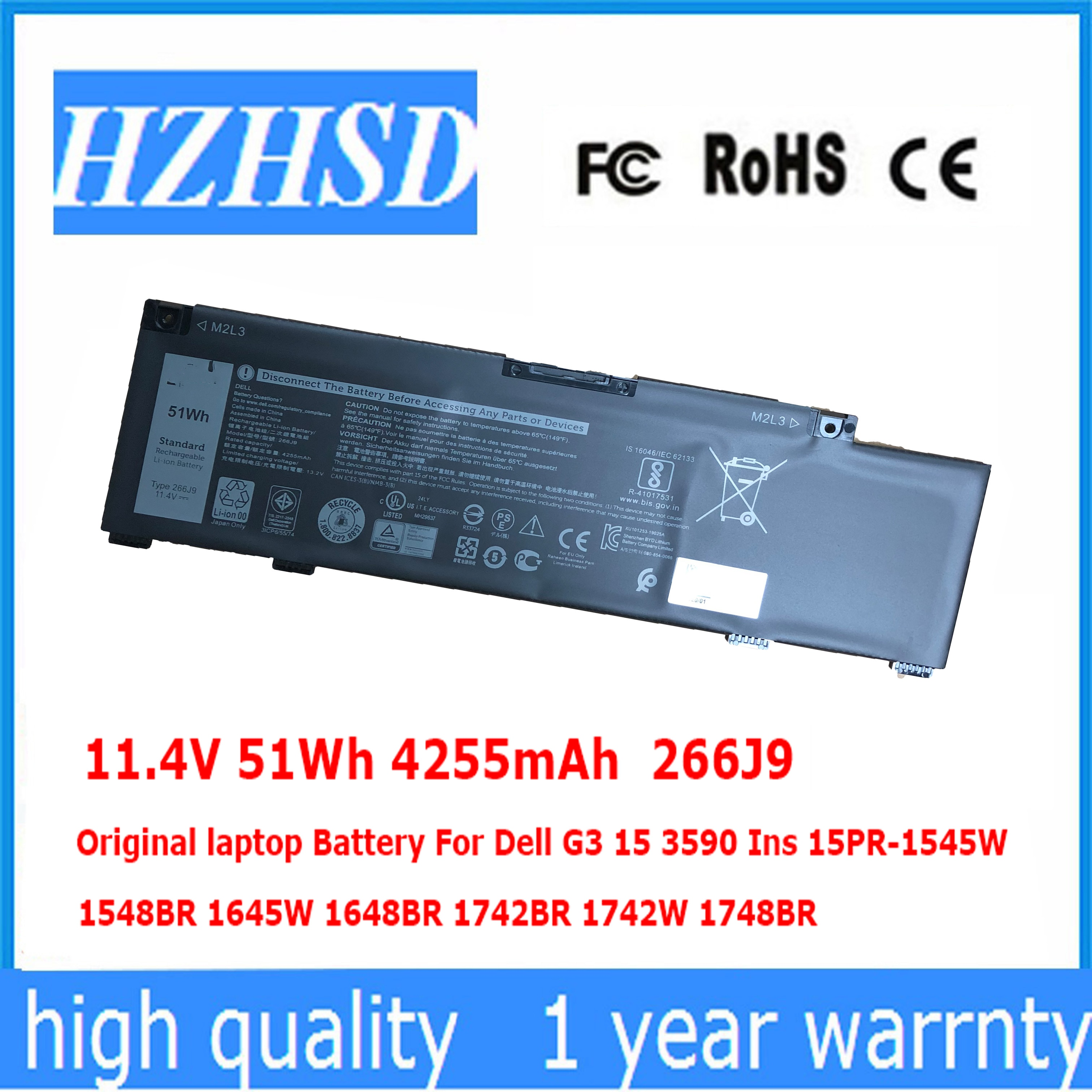 11.4V 51Wh 4255mAh Original 266J9 laptop Battery For Dell G3 15 3590 Ins 15PR-1545W 1548BR 1645W 164
