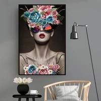 Toile moderne a fleurs pour femmes  modele de mode  imprime Floral  peintures dart  affiches murales POP  images pour chambre a coucher  decoration de la maison