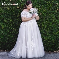 off shoulder plus size wedding gown appliques embroidery bride dress simple lace up back bridal dress 2020 white