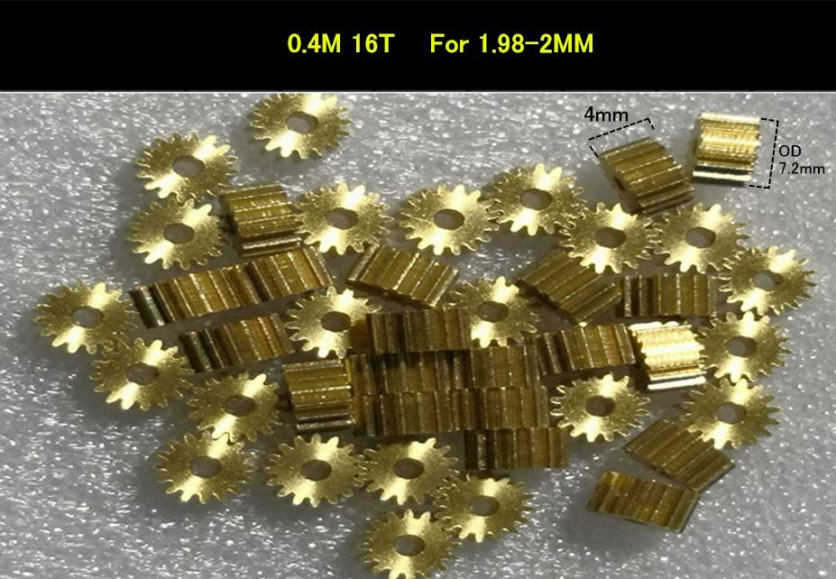 Engranaje de cobre de 0,4, módulo 16, 0,4 M, 16 T, 1,98mm, 2mm, engranaje recto