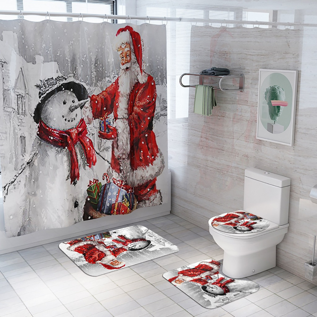 Santa Christmas Print Toilet Bathroom Mat And Shower Curtain Four-Piece Set Christmas Holiday party home Decoration Decor