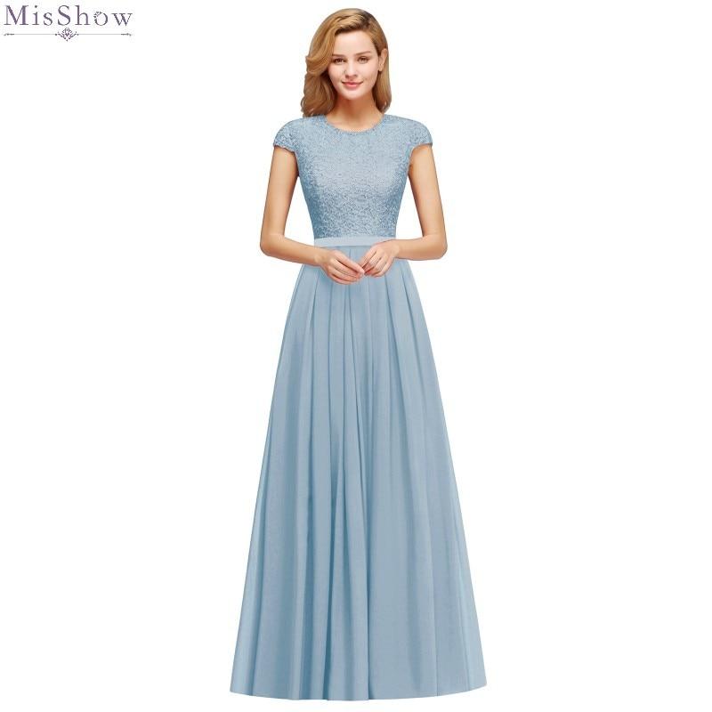 Dusty Blue Chiffon Long Prom Dresses 2020 Lace Applique Gown Elegant Scoop Neck Sleeveless 2019 vestidos de gala
