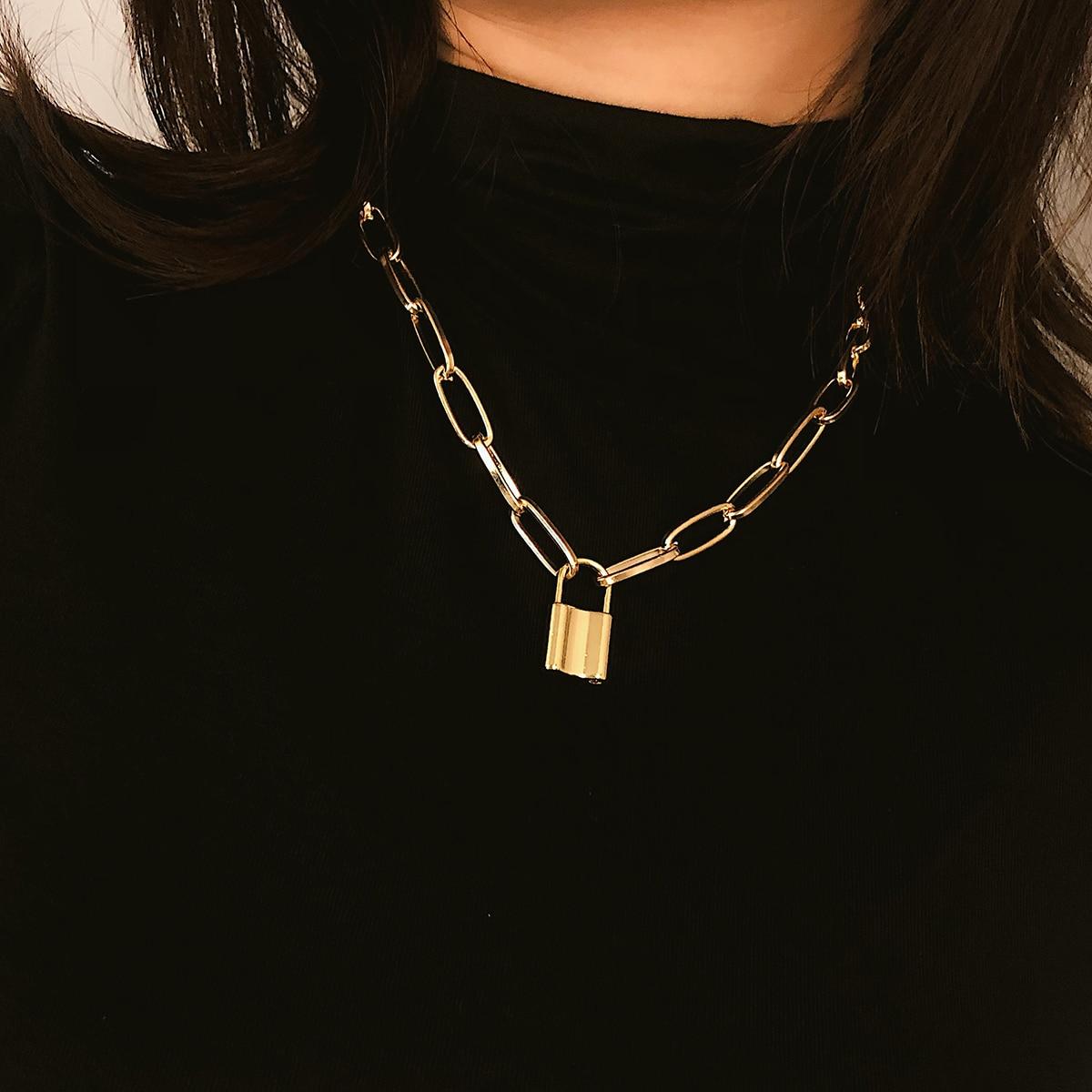 Collar de cadena gruesa con candado único de verano, collar con colgante de roca, gargantilla de candado, collar con cadena en capas en el cuello con