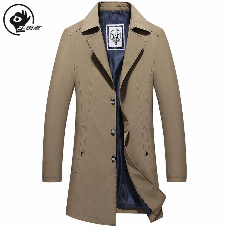XiaoYudian gabardina para hombre abrigo largo de color liso Vintage para hombre otoño abrigos largos de doble cuello chaquetas de gran tamaño Trench man