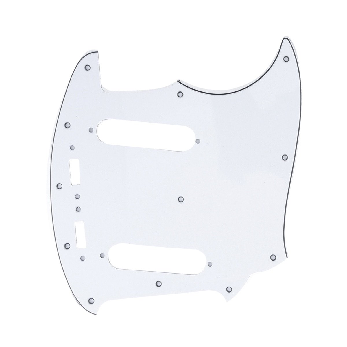 Golpeador de guitarra de 12 orificios Musiclily Pro para JPN Fender Japan Mustang, color blanco de 3 capas