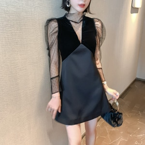 Spring Party Dress New Fashion 2019 Women Sexy Dress Dot Mesh Perspective Spliced Velvet Puff Sleeve Black Mini Dress