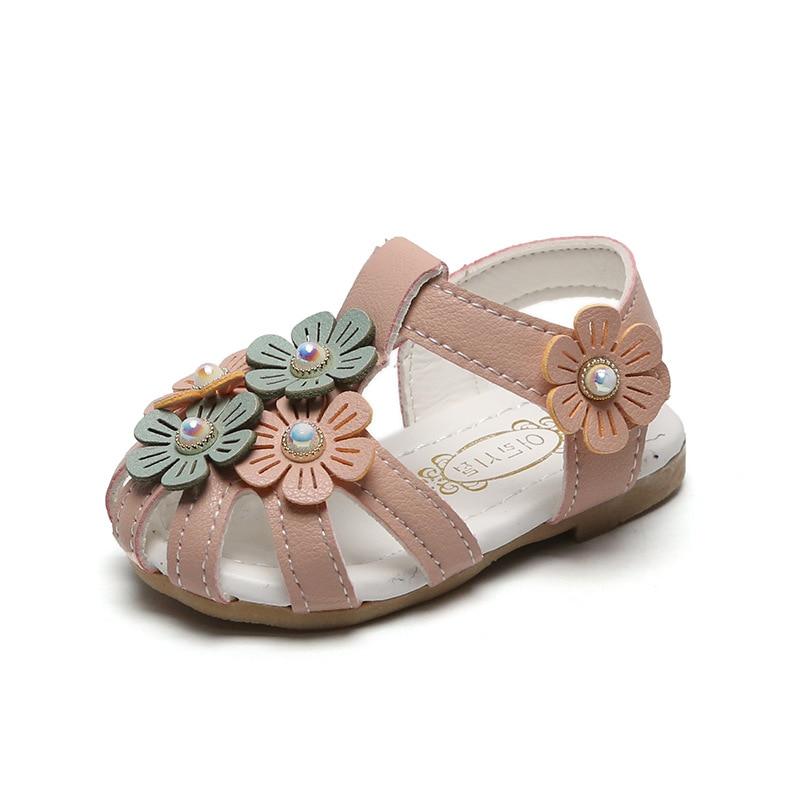 Sandalias para bebés y niñas, sandalias suaves de verano para niños y niñas, sandalias de flores de princesa, sandalias de playa informales