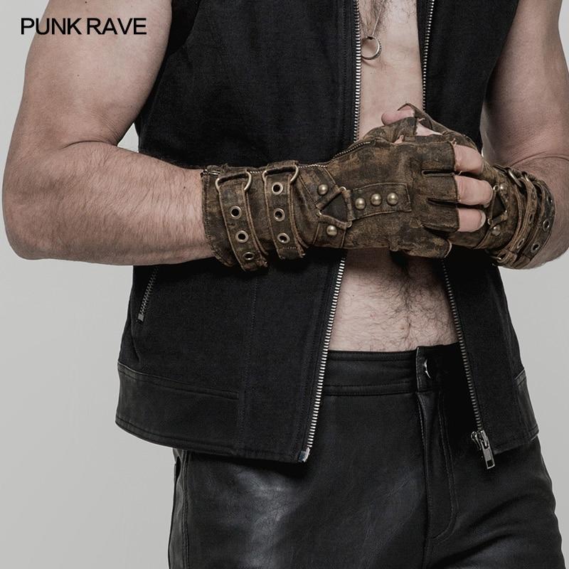 قفازات بانك RAVR Steampunk للرجال ، بدون أصابع ، غير مرنة ، PU ، نمط دراجة نارية ، زوج واحد ، عسكري ، قوطي ، قفازات ديزل بانك