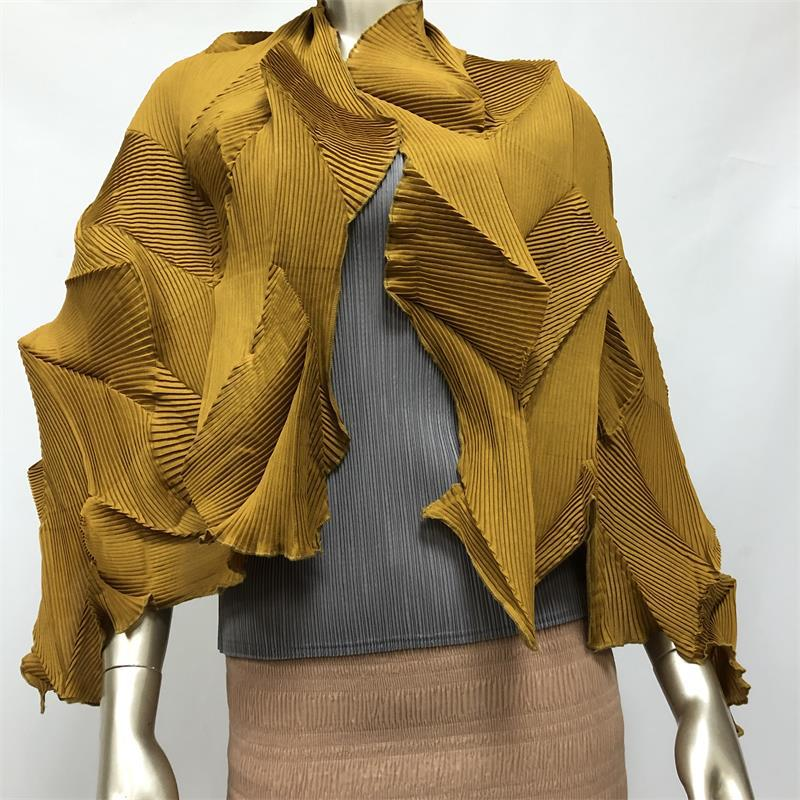 Bufanda plisada Miyake, pañuelo plisado de diamante, bufanda moderna Plegable ligera y tridimensional