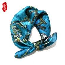 Van gogh paon bleu naturel foulard en soie imprimé fleur pour les femmes 100% vraie soie de haute qualité 50cm petit carré enveloppement dame cadeau