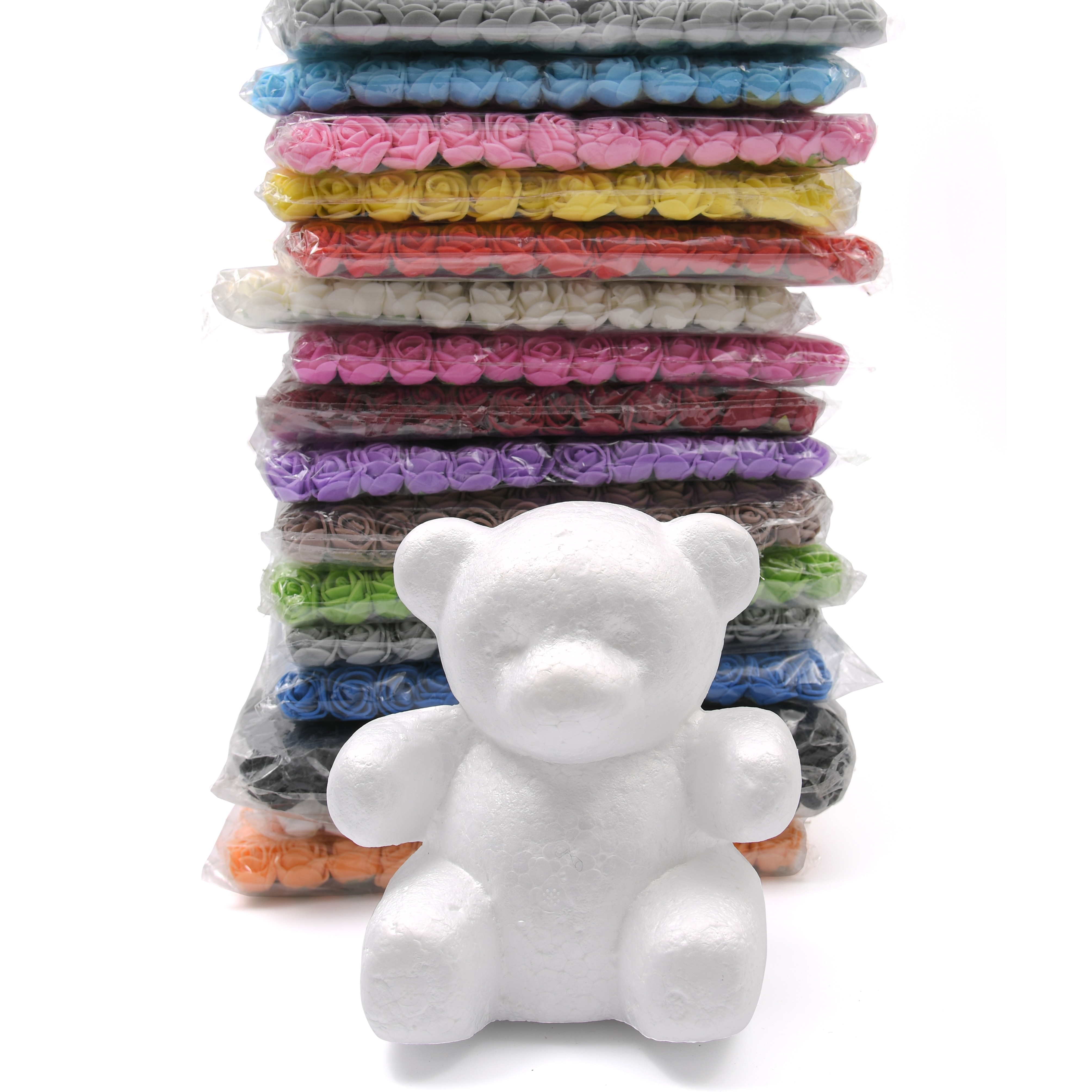 1pcs 15cm/20cm/30cm/35cm Foam Rose Bear Mold DIY For Gift Polystyrene Styrofoam Foam Ball Artificial Rose Flower Bear