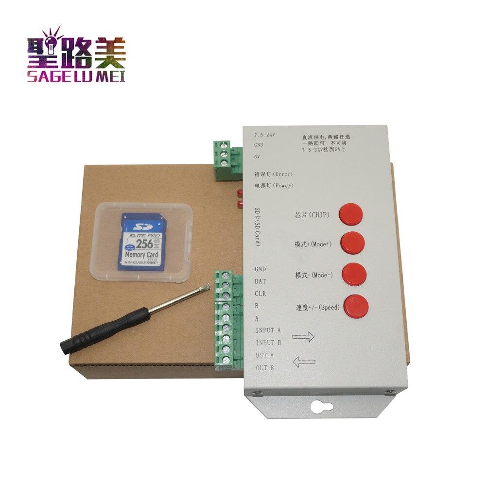 alta qualidade t1000s sd cartao ws2801 ws2811 ws2812b lpd6803 led 2048 pixels controlador