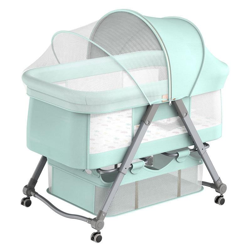 Folding Crib Cradle Bed Stitching Big Bed Bb European Multifunctional Portable Crib Newborn Bed Rocking Baby Bassinet
