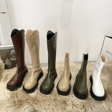 2021 Winter Shoes Women Knee High Boots Fashion Round Toe Thick Bottom Zippers Ladies Long Knight Bo