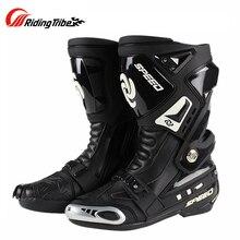 Moto vitesse chaussure protecteur bottes longues hommes changement de vitesse course Motocross équitation chaussures bottes Moto Botas Motobike protection