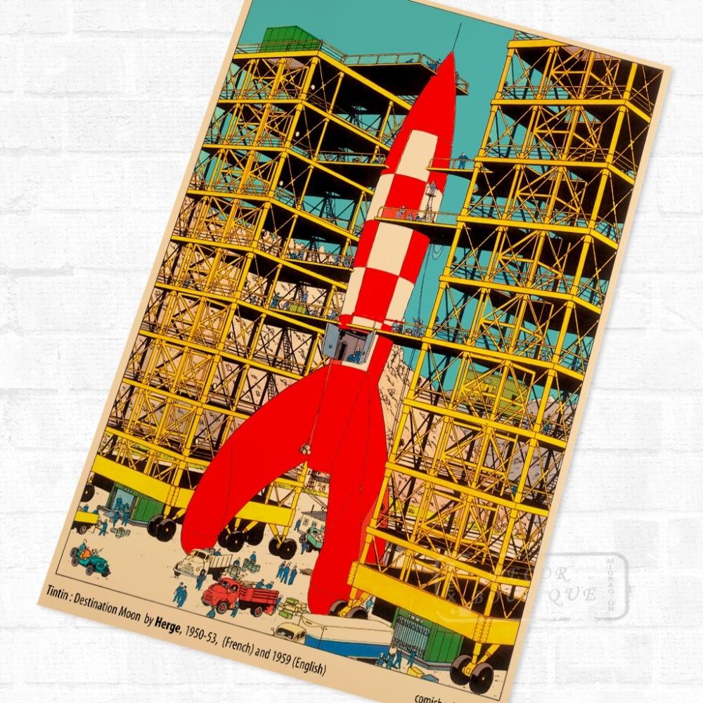 Montar cohetes TinTin dibujos animados cómic Vintage póster Retro de Kraft recubierto decorativo DIY pared pegatina hogar arte carteles de decoración regalo