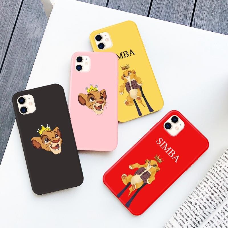Simba étuis en Silicone mignon Lion roi étui dessin animé pour Iphone XS MAX XR X 7 11 Pro Max 8 6 6s Plus SE 2020 couverture de téléphone souple couronne