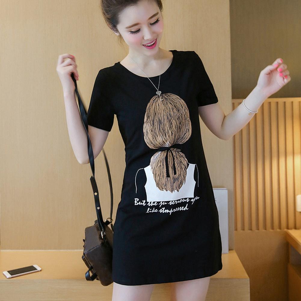 Casual Women Dress Breathable Short Sleeve Round Neck Long T-shirt Blouse Mini Dress White M-3XL Women Clothing платье летнее