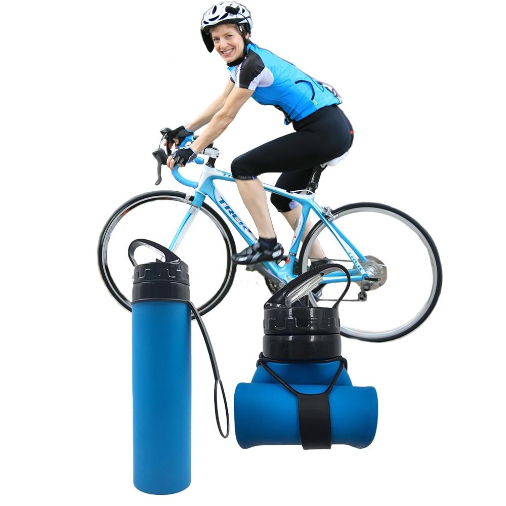 Sports water bottle silicone bottle BPA 600 ML Eco-friendly foldable kitchen drinkware hiking Gym wa