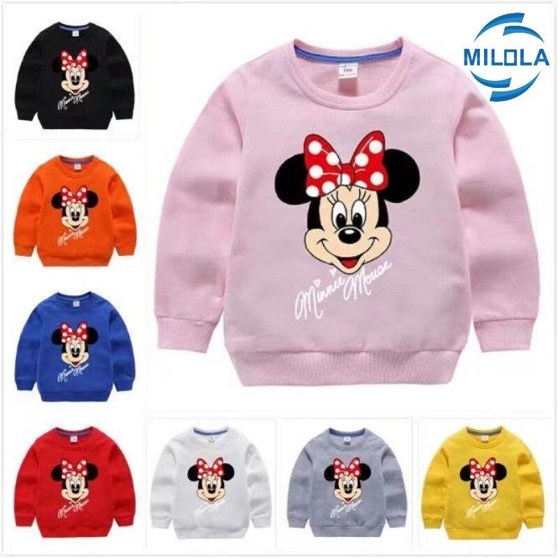 Дисней «Минни Маус» для девочек, толстовки с капюшоном; Сезон весна осень; 100% хлопковый пуловер для детей, детская одежда для девочек, свитер, топы для детей|Толстовки и кофты| | АлиЭкспресс