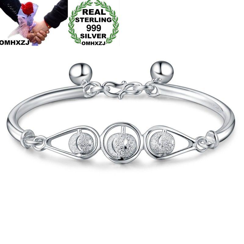 OMHXZJ, venta al por mayor, moda europea, mujer, chica, fiesta, boda, regalo, cuentas de la suerte, brazalete de plata esterlina S999 BA03