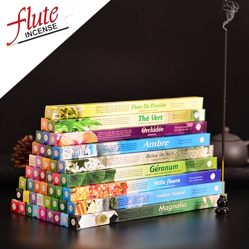 Flauta 8 palos/caja Multi-estilo incienso indio palo palos de Aroma de color humo aromaterapia Kamasutra Sage Smudge Sticks