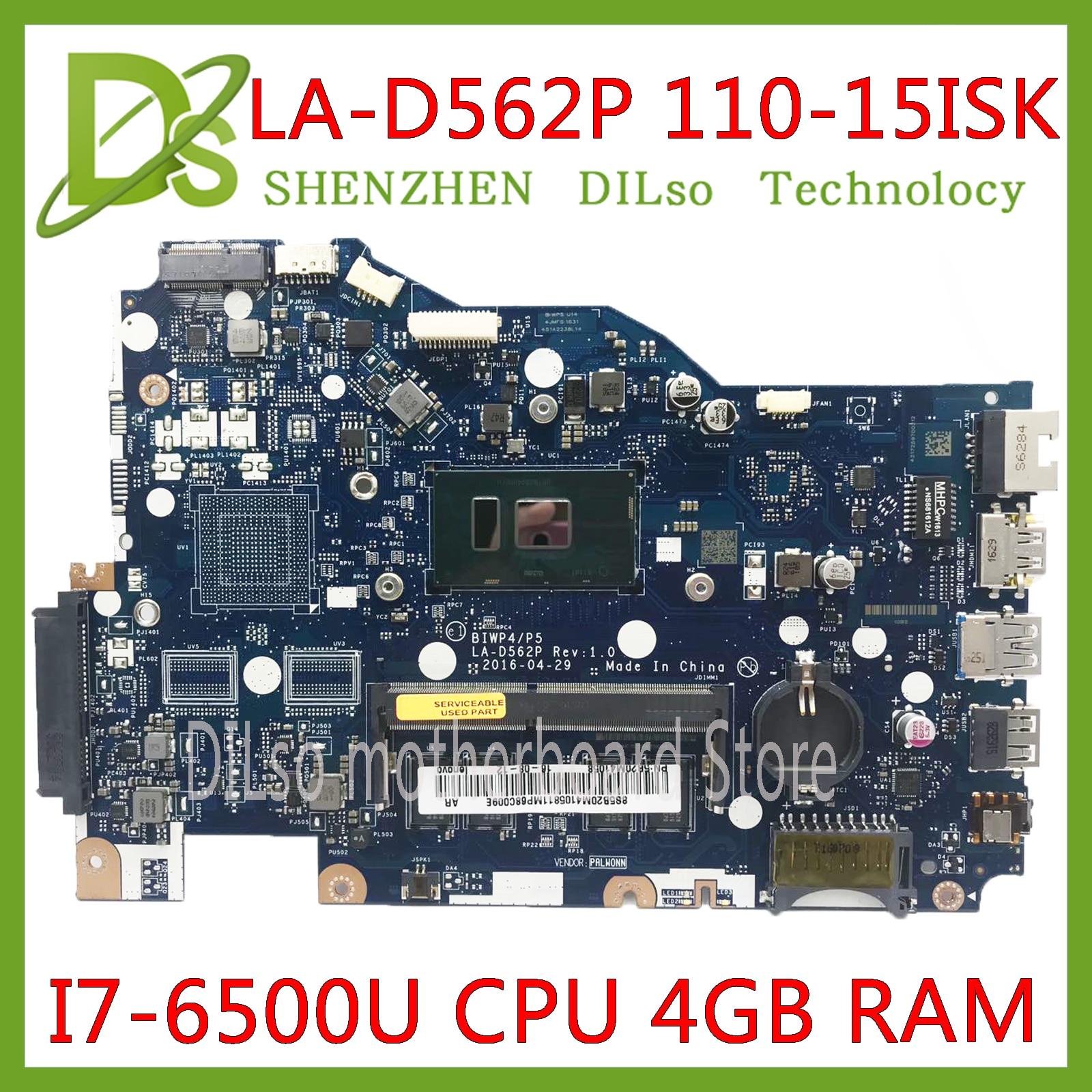 KEFU LA-D562P placa base para Lenovo 110-15isk placa base de computadora portátil LA-D562P I7-6500U CPU 4GB prueba trabajo 100% original