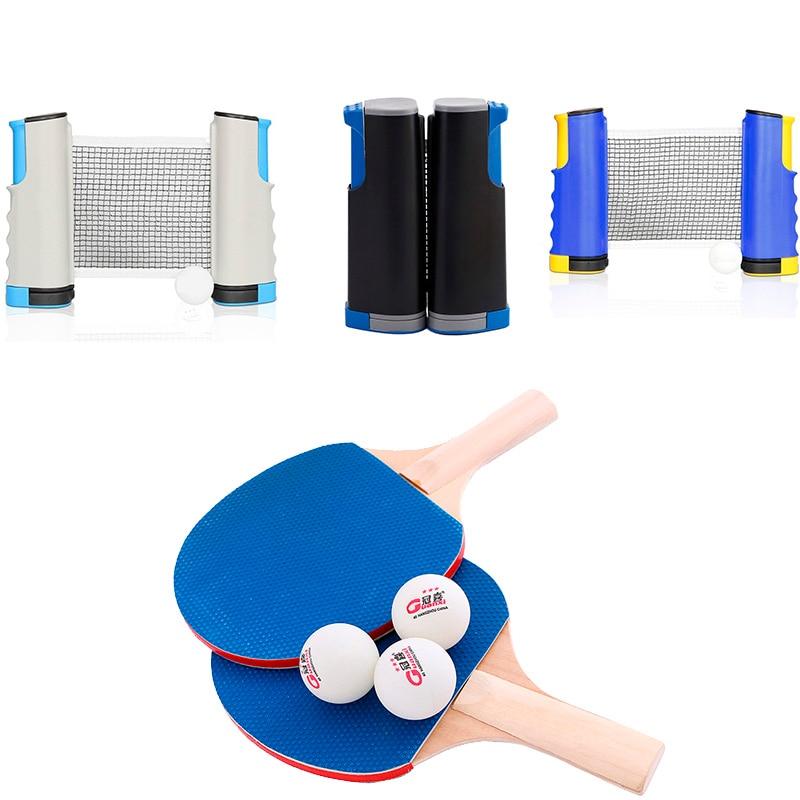 Juego de Entrenamiento de deportes de tenis de mesa profesional de 4 tipos, raqueta, red de malla, tenis de mesa, equipo deportivo para estudiantes, portátil Simple