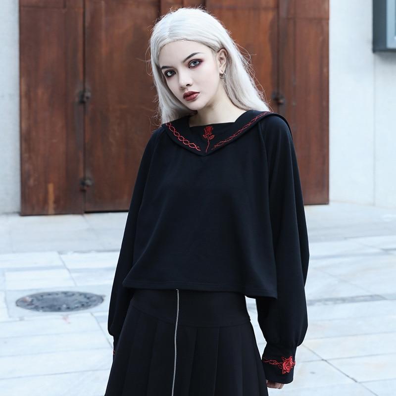 Dark Wind Rose Embroidery Long Sleeve Sweatshirts Women Girls Crew Neck Loose Punk Gothic Black Hoodies Pullovers Autumn Tops