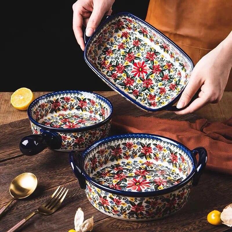 البولندية نمط مقلاة خبز وعاء الحساء مزدوجة الأذن وعاء لوحة أدوات مائدة خزفية أواني المطبخ المنزل