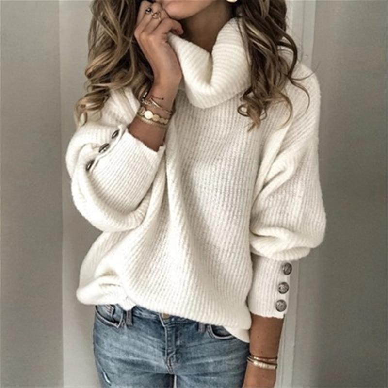 Otoño Invierno, suéteres de cuello alto liso, suéteres de punto de manga larga informales, suéteres Vintage para mujer, Tops de Jersey holgados con botones