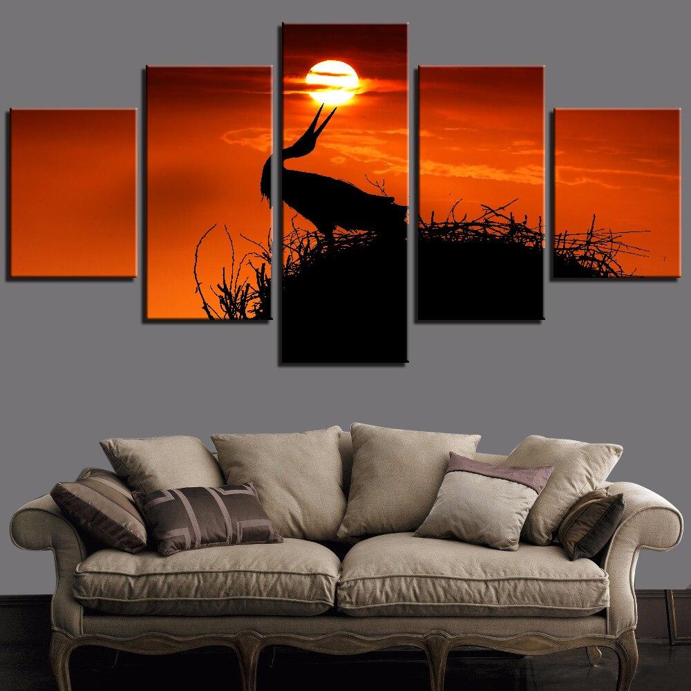 5 piezas de lienzo de atardecer y aves, pintura de arte de pared rojo y negro para el hogar, fondos de mejora, póster de Animal y cielo, decoración de fotos