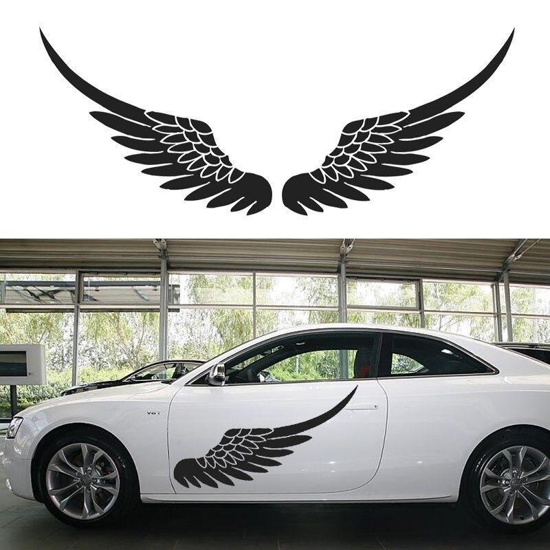 1 пара, большой размер, автомобильная виниловая наклейка, наклейка на дверь, тело, наклейка s, боковые наклейки, крылья ангела, птицы, перо, чер...